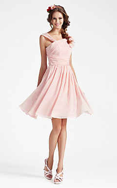 A-line V-neck Sleeveless Knee-length Chiffon Bridesmaid Dress
