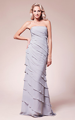 Trumpet/ Mermaid Strapless Floor-length Chiffon Mother of the Bride Dress