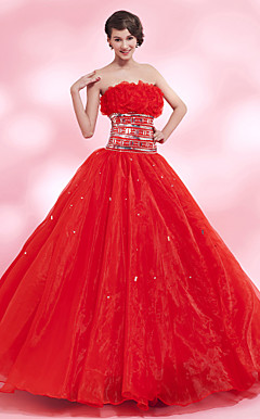 A-line Strapless Floor-length Organza Satin Evening Dress