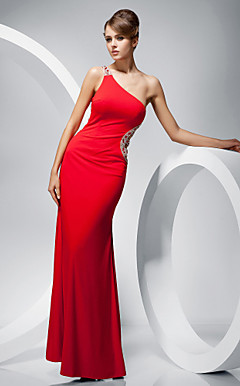 Trumpet/ Mermaid One Shoulder Floor-length Evening Dress