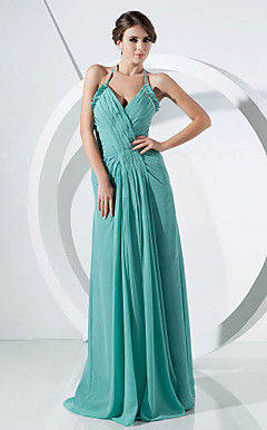Sheath/ Column Halter Floor-length Chiffon Evening Dress