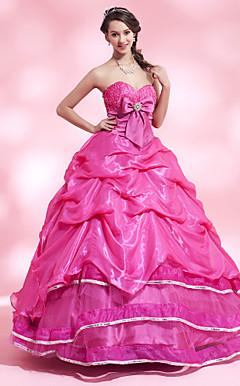 A-line Sweetheart Floor-length Satin Organza Evening Dress