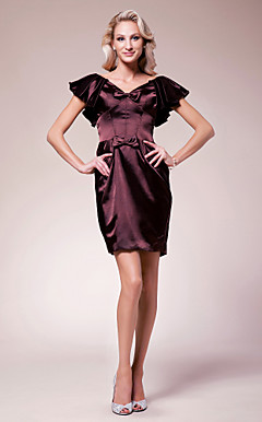 Sheath/Column V-neck Short/Mini Stretch Satin Mother of the Bride Dress
