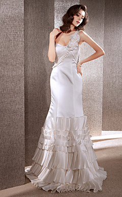 Trumpet/Mermaid One Shoulder Sweep/Brush Train Satin Wedding Dress