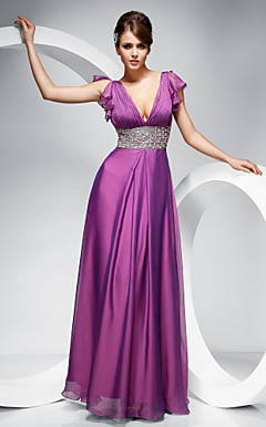 Sheath/ Column V-neck Floor-length Chiffon Evening Dress