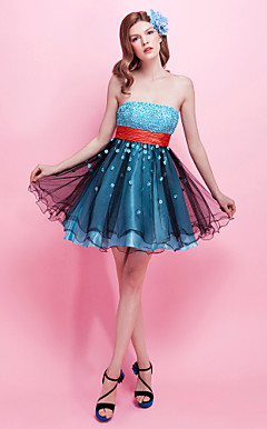 A-line Strapless Short/ Mini Charmeuse Tulle Cocktail Dress