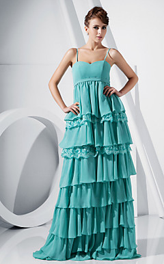 Sheath/Column Sweetheart Floor-length Chiffon And Lace Tiered Evening Dress