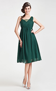 A-line Straps Knee-length Chiffon Tulle Bridesmaid Dress