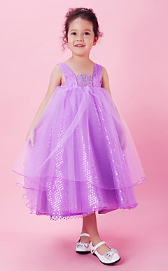 A-line Sequined Square Neck Tea-length Flower Girl Dress