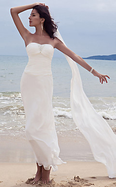 Sheath/ Column Sweetheart Ankle-length Chiffon Wedding Dress With A Wrap