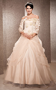 A-line Off-the-shoulder Floor-length Satin And Organza Wedding Dress
