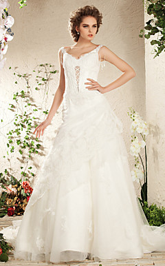 Elegant Lace   Tulle A-line  Wedding Dress With Side Drape