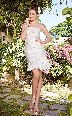 Trumpet/ Mermaid One Shoulder Short/ Mini Taffeta Wedding Dress
