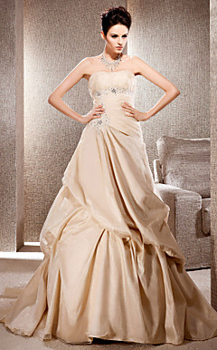 A-line Strapless Court Train Organza Wedding Gown