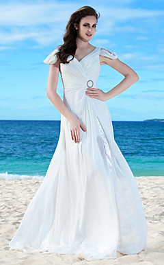 Charming A-line V-neck Floor-length Chiffon Wedding Dress