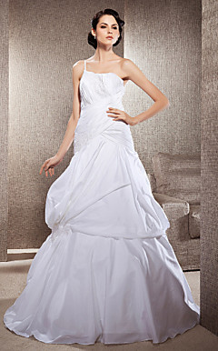 A-line One Shoulder Court Train Taffeta And Lace Wedding Dress