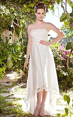 Sheath/ Column Strapless Asymetrical Tulle Over Satin Wedding Dress