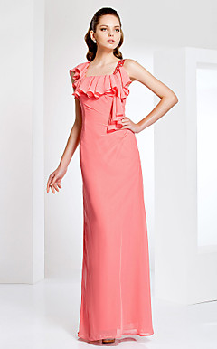 Sheath/Column With Straps Floor-length Chiffon Evening Dress