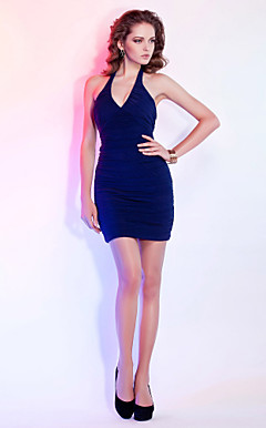 Sheath/ Column Halter Short/ Mini Jersey Cocktail Dress