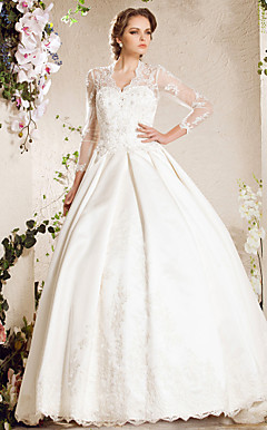 A-line Sweetheart Chapel Train Lace Satin Wedding Dress Inspired By Kate Middleton