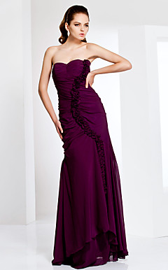 Floor-length Chiffon Sweetheart Neck Evening Dress