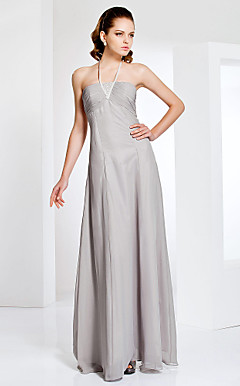Halter Neck Sheath/Column Floor-length Chiffon Evening Dress