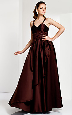 A-line Spaghetti Strap Floor-length Satin And Organza Evening Dress
