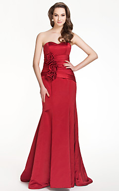 Trumpet/Mermaid Sweetheart Floor-length Satin Bridesmaid Dress With Flower(s)