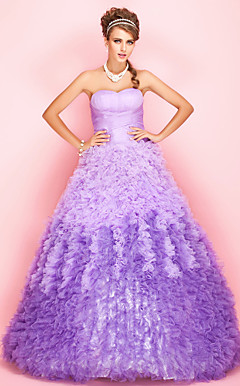 Ball Gown Sweetheart Sweep/Brush Train Tulle Evening/Prom Dress