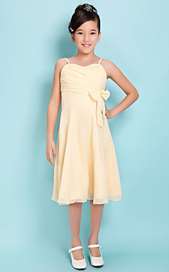 A-line Spaghetti Straps Knee-length Chiffon Junior Bridesmaid Dress