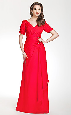 V-neck Sheath/Column Floor-length Chiffon Bridesmaid Dress With Side-Draping