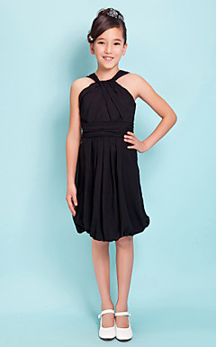 Sheath/Column Straps Knee-length Chiffon Junior Bridesmaid Dress