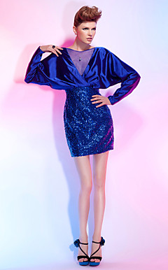 Sheath/Column Bateau Short/Mini Sequined And Stretch Satin Cocktail Dress