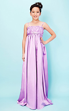 Sheath/Column Spaghetti Straps Square Floor-length Stretch Satin Junior Bridesmaid Dress