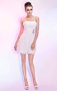 A-line Spaghetti Straps Short/Mini Chiffon Cocktail Dress
