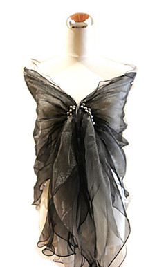Elegant Organza With Pearls and Ruffles Special Occasion Shawl / Wrap (More Colors Available)