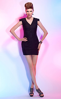 Sheath/Column V-neck Short/Mini Satin Chiffon Cocktail Dress