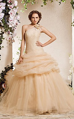 Ball Gown una spalla cappella treno organza abito diserbo
