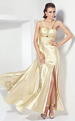 Sheath/ Column V-neck Sweep/ Brush Train Stretch Satin Evening Dress