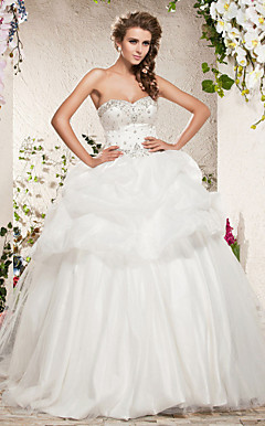 Ball Gown Sweetheart sweep / treno pennello raso tulle abito da sposa