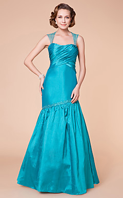 Trumpet/Mermaid Strapless Floor-length Taffeta Mother of the Bride Dress With A Wrap