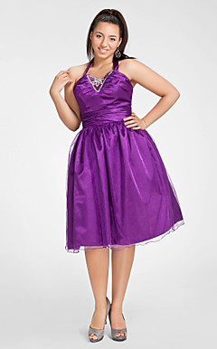 A-line Halter Knee-length Tulle And Stretch Satin Cocktail Dress