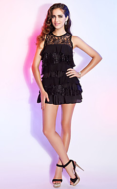 Sheath/ Column Scoop Short/ Mini Lace Cocktail Dress