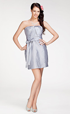 Sheath/ Column Strapless Short/ Mini Taffeta Bridesmaid Dress