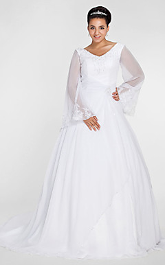 Ball Gown V-neck Chapel Train Chiffon Plus Size Wedding Dress