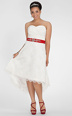 A-line Sweetheart Asymmetrical Lace Plus Size Wedding Dress