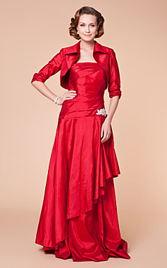 A-line Strapless Floor-length Taffeta Mother of the Bride Dress With A Wraps