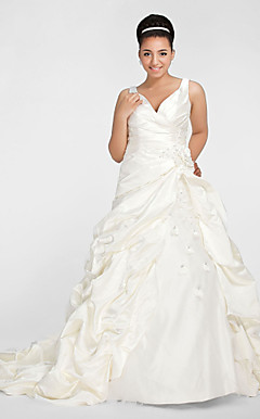Ball Gown V-neck Chapel Train Satin Plus Size Wedding Dress
