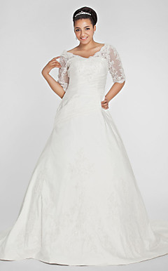 Ball Gown V-neck Chapel Train Taffeta Plus Size Wedding Dress