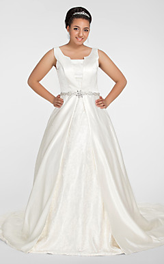 Ball Gown Scoop Chapel Train Satin Plus Size Wedding Dress